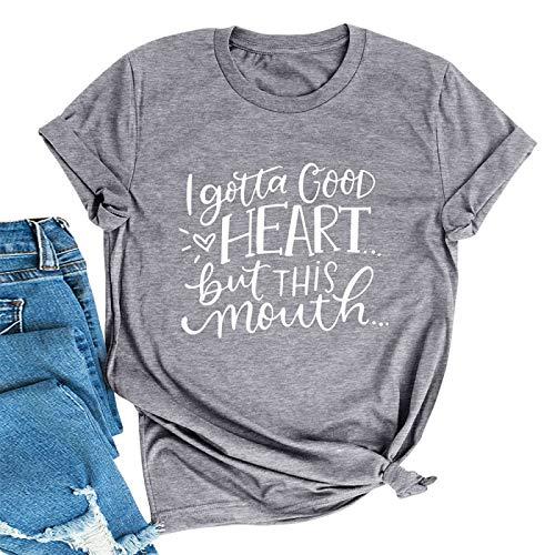 DREAMING-Blusa de Moda Casual Camiseta de Jersey de algodón Camiseta Suelta de Manga Corta con Estampado de Letras XXL