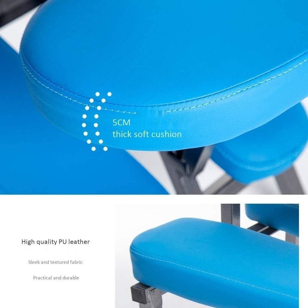 HUXIUPING Genoux Chaise Chaise Bureau Ergonomie Chaise orthopédique d'apprentissage Chaise Pliante Stockage Amovible Bureau (Color : Gray) Blue