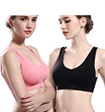 Essentials Women's 2-Pack Light-Support Seamless Sports Bras with Removable Genie Bra
