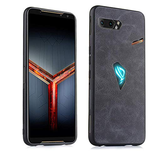 MARR Hülle für ASUS ROG Phone 2 ZS660KL, Schlanke rutschfeste Kratzfeste TPU mit PU Case Schutzhülle Handyhülle für ASUS ROG Phone II (Schwarz)