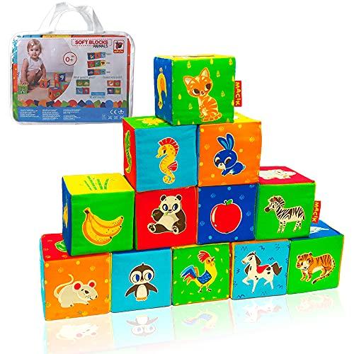MACIK 12 Cubes Mousse Enfants –Ferme + Zoo + Mer- Cubes à empiler bébé – Jouet éveil bébé – Cube développement motricité – Jouets bébé 6 Mois Jouets Apprentissage bébé de 12 à 18 Mois - Peluches