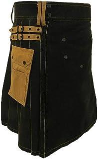 Kurz Hose Herren Vintage Schottischen Rock Retro Kilt Taschen Rock Hosen Stilvolles Festival Kostüm Herren Röcke Hose Gitter Zopf Kilt