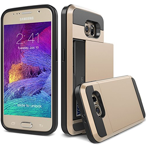 S6 Case, TekSonic Samsung Galaxy S6 Case (Gold) Armor Series [Card Slide Slot][Drop Protection][Heavy Duty][Wallet] Full Cover Protection Tough Case for Samsung Galaxy S6 (Golden)