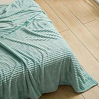 Manta de forro polar a rayas MAS super suave franela grande y cálida manta para sofás, manta de cama doble y king, azul pastel, King 200cm x 240cm