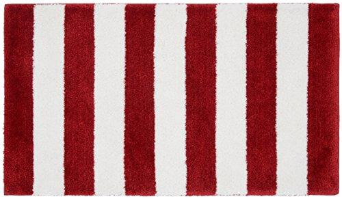 Garland Rug Beach Stripe Bath Rug, 21' x 34', Crimson Red/White