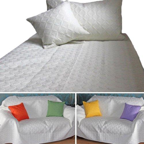 Homescapes Elegante Tagesdecke Ultrasonic, Bettüberwurf 250 x 350 cm mit hochwertiger Prägung, Sofaüberwurf Plaid weiß
