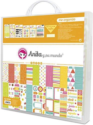 Anita y Su Mundo Colección Me Organizo Kit Maletín Scrapbooking (Papeles, Pegatinas, Chapas, Brads Epoxy, Sellos, Abecedario Adhesivo), Paper, Multicolor, 30.5 x 30.5 cm