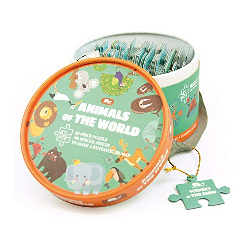 Andreu  Puzzle NW4025 con diseño de animales del mundo (tarjeta 3D)