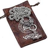 Collar de martillo de Thor de la mitología nórdica, collar vintage para hombre, colgante de acero inoxidable con cabeza de lobo vikingo