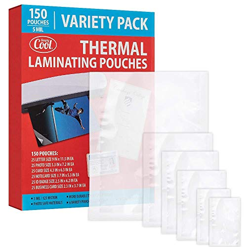 5MIL Thermal Laminating Pouches 150 Count | Letter Photo Card Notecard ID Badge and Business Card Sizes | DryErase Friendly Sheets Compatible with Laminators | Crystal Clear Laminated Finish