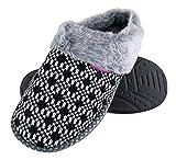 DUNLOP - Mujer Peluche Memory Foam Zapatillas de Casa con Elegantes Nordikas y Leopardo Modelo (37 EU, Black)