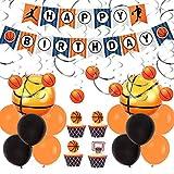 JOYMEMO Decorazioni per Feste di Pallacanestro con ricciolo sospeso, striscioni di Buon Compleanno e Palloncini in Alluminio