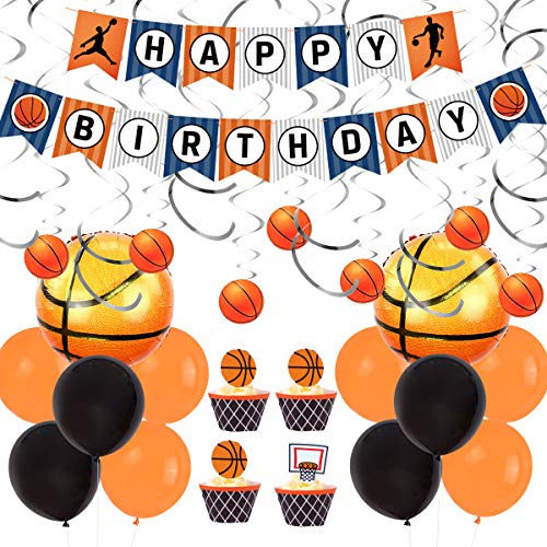 JOYMEMO Basketball-Party-Dekorationen enthalten Hanging Swirl, Happy Birthday Banner und Folienballons