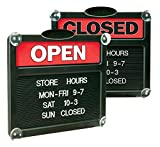 Headline Sign - Double-Sided'Open' /'Closed' Sign with Customizable Hours or Message, Includes 3/4' Characters, 15' x 13', Red and Black (3727)