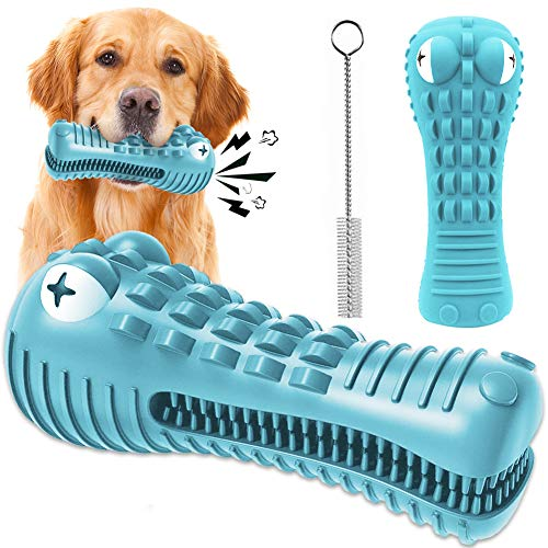 Semloo Dog Chew Toy Indestructible Squeaky Toy for Aggressive Chewers, Tough Durable ToothbrushStick Interactive Training Toy for Puppy Teeth Cleaning Oral Dental Care