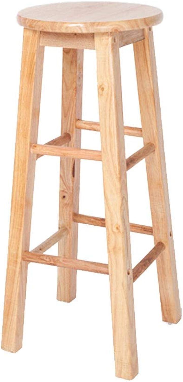 A+ Solid Wood Office Stool, Retro Home Bar Chair, Natural Wood Grain High Chair - 3 Sizes - Natural Wood Grain (Size   30cm70cm)