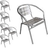 Multistore 2002 6 Stück Bistrostuhl stapelbar Aluminium Stapelstuhl Campingstuhl Gartenstuhl Küchenstuhl Gartenmöbel Silber