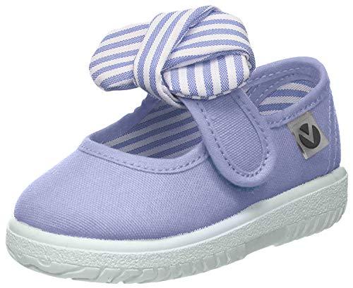 Victoria Mercedes Lona Pañuelo, Zapatos de primeros pasos para Bebé-Niñas, Blanco, 21 EU