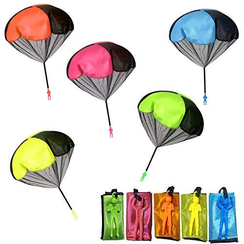 Sunshine smile Paracadute,Giocattoli Paracadute, Paracadute per Bambini Set,Mano Lancio Paracadute,Ottimi Giochi all'aperto per Bambini Giocattolo (10 Pezzi)