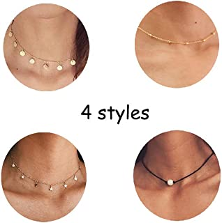 4PCS Gold Layered Necklace for Women Girls Long Choker Chain Y Necklace Bar Feather Pendent Necklace Sets
