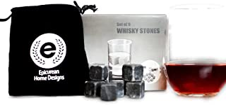 Whiskey Chilling Stones. Sipping Rocks Made From Pure Soapstones - Set of 9 Ice Cubes