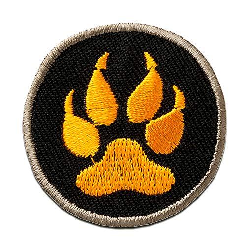 pata del lobo garra - Parches termoadhesivos bordados aplique para ropa, tamaño: 3,6 x 3,6 cm