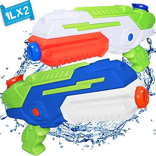 MOZOOSON 2 Pack XXL Kinder Spielzeug Wasserpistole 1L mit 12 Meter großer Schießstand, Super Wasserpistole für Erwachsene Kinder Mädchen Junge ab 4 5 6 7