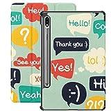 Funda para Galaxy Tab S7 Funda Delgada y Liviana con Soporte para Tableta Samsung Galaxy Tab S7 de 11 Pulgadas Sm-t870 Sm-t875 Sm-t878 2020 Release, Trendy Speech Bubbles Set Flat Design