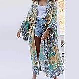 XKMY Kimono Cardigan bata para mujer Otoño largo Kimono suelto estampado floral Tops laterales Fajas envolventes Blusas Camisas Bikini Traje de baño Cubierta (Color: Verde Ejército, Talla: M)