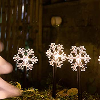 LED Landscape Lighting 5 Pack Pathway Light,Decorative Garden Lighting Battery Powered  Warm White Glow  Indoor & Outdoor Holiday Decoration  Snowflake