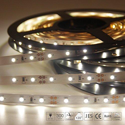 Signcomplex Flexibler LED Streifen, [Begrenzte Große Rabatte] 3528 SMD LED mit 3M Selbstklebe band 5 Meter pro Rolle 12 V DC (Natürliches Weiß)