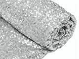 ShinyBeauty Pailletten-Stoff Meterware Silber 1 Meter