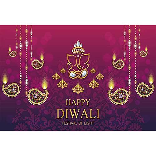 Feliz Día de la Independencia Festival de Velas Accesorios de Fondo Cristal Dorado mitología India Fondo de fotografía en Color A2 10x7ft / 3x2,2 m