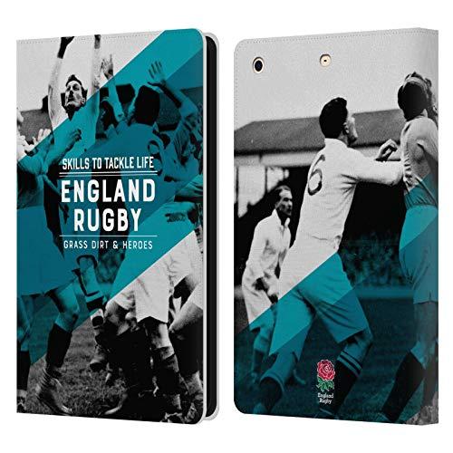 Head Case Designs Official England Rugby Union Habilidades para abordar la Vida History Carcasa de Cuero Tipo Libro Compatible con Apple iPad Mini 1 / Mini 2 / Mini 3