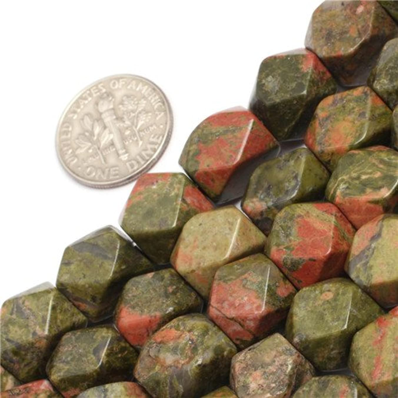 GEM-inside Unakite Gemstone Loose Beads Natural Genuine 8-9x11-12mm Faceted Cuboid Energy Stone Power Beads For Jewelry Making 15