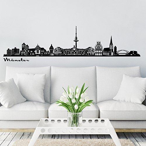 Wandkings Skyline - Deine Stadt wählbar - Münster - 125 x 27 cm - Wandaufkleber Wandsticker Wandtattoo