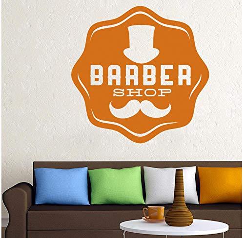 Muursticker voor de muur, afneembaar, van PVC, landschap 58 x 58 cm, Barbier, Sticker voor brood aan het rooster, Sticker voor scheerapparaat voor haar