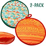 Microwaveable X-Large Tortilla Warmer Pouch 2 Pack - 2 Fun Designs'Mexican Pattern' to make taco night special. 12 Inch in Diameter Microwave Corn or Flour Tortillas, Pizza, Naan Bread