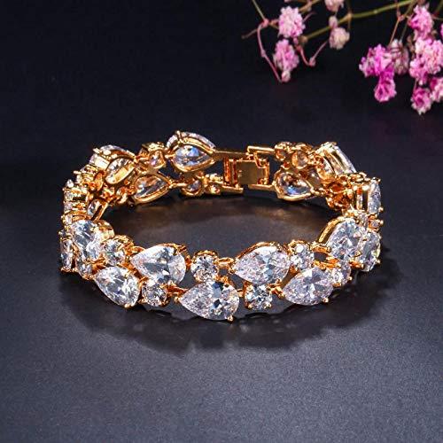 Bracelet For Women Sparkling Cubic Zirconia Yellow Gold Color Big Wide Wrap Bracelets Bangles For Brides Wedding Party White