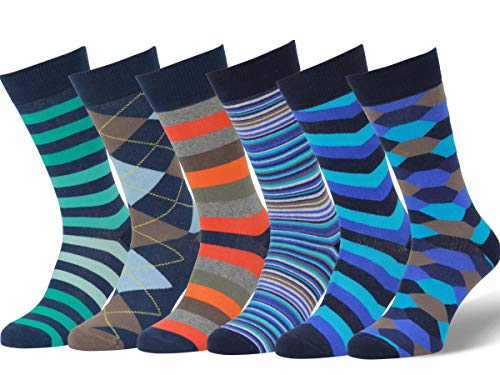 Easton Marlowe Mens Dress Socks - Fun Colorful Socks for Men - Cotton Patterned Fashion Mens Socks - Dark Navy Blue Teal Orange, 6 Pack #17 Size 6-9