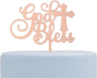 God Bless Acrylic Cake Topper for Baptism, Christening, Dedication or First Communion Decorations (Rose Gold)