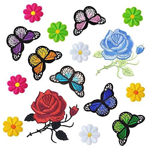 Aufnäher Patches Gestickte Applikation Sticker zum Nähen-auf oder Aufbügeln für Schirmmütze, Jeans, Rucksäcken, Schals, Kurzer Rock (16 Stück Gemischt Schmetterling und Blumen)
