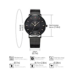 SK Fashion Women Watches Silver Stainless Steel Quartz Wristwatch Clock Ladies Bracelet Watches (0059 Black) #5