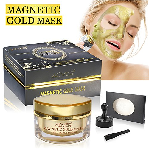 ALIVER Magnet Mask Gold Luster Magnetic Face Mask - Mineral-Rich Anti-stress Moisturizing Anti-aging Pore Cleansing Enhancing Tone and Texture (1.7 oz) (Gold)