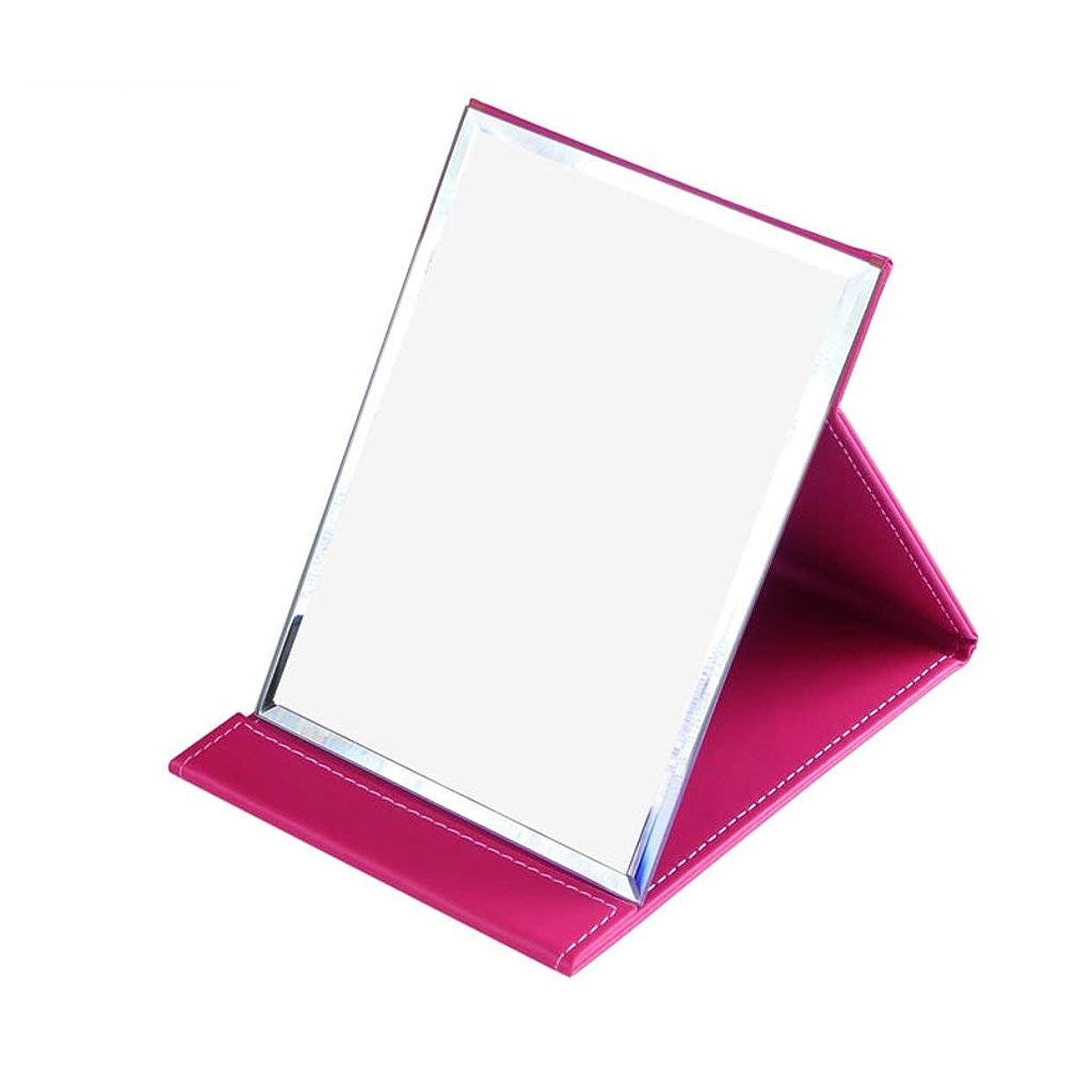 企業優勢葉化粧鏡デスクトップ折りたたみポータブルPU HDバニティミラートラベルシェービングミラーシンプルでモダン(色:ローズレッド、サイズ:18 * 25.5cm)