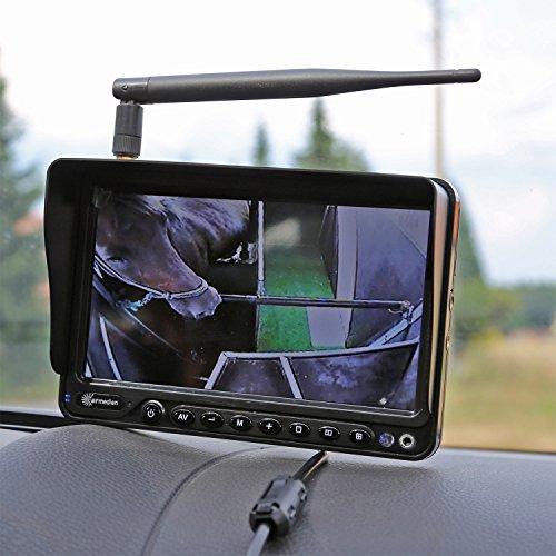 Carmedien Funk Kamera Set für Pferdeanhänger 12V - 24V Überwachungssystem Funksystem Rückfahrkamera Rückfahrsystem cm-FRFS2