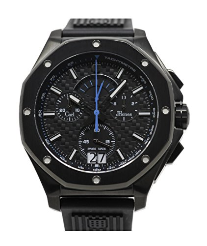 Carl JHones Men's Respire Blue Carbon Fiber Swiss Quartz Watch 46MM