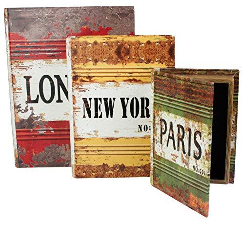 Emartbuy Conjunto De 3 Keepsafe, Vintage, Dinero, Joyas, Llaves, Libro Secreto del Regalo De La Caja De Almacenamiento - London New York Paris
