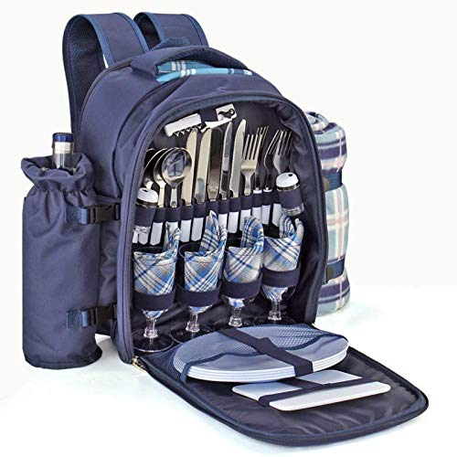 XDLH Kit De Mochila De Picnic - Juego para 4 Personas con Compartimento Refrigerador, Botella Desmontable/Portavasos, Mantas, Placas Y Cubiertos De Flotware