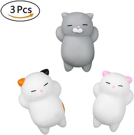 Fancyku Kawaii Slow Rising Squishy Squeezen Mini Cat Fidget Toy, 3Pcs